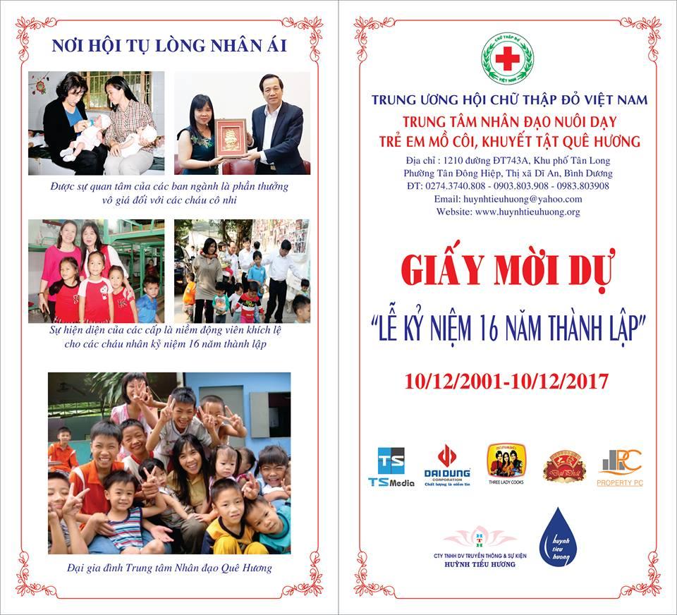 Thư mời tài trợ kỷ niệm 16 năm thành lập Trung Tâm Nhân Đạo Quê Hương