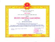 Chị Huỳnh Tiểu Hương đón nhận huân chương lao động